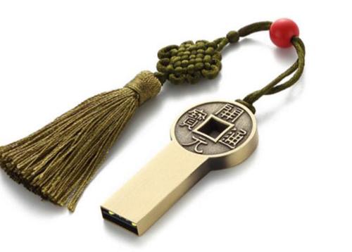 西藏旅游礼品铜钱U盘定制
