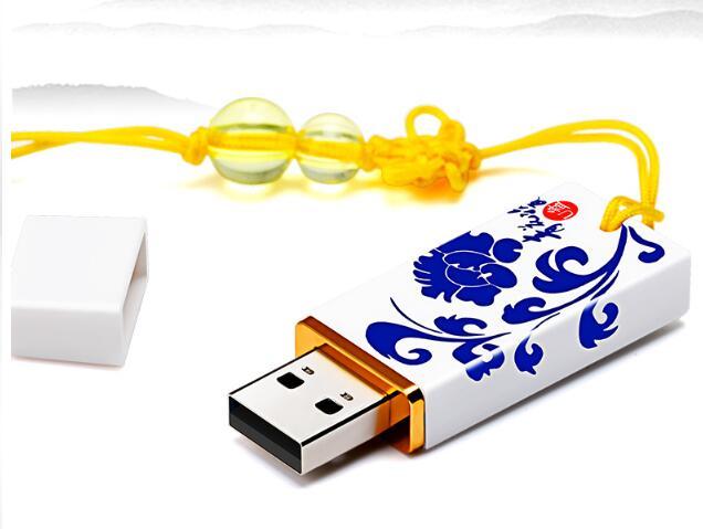 现代与古典的完美结合 颜值高实用性强的礼品U盘定制推荐中国风陶瓷U盘